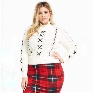 Torrid l Mock Turtleneck Sweater Lace Up Detail